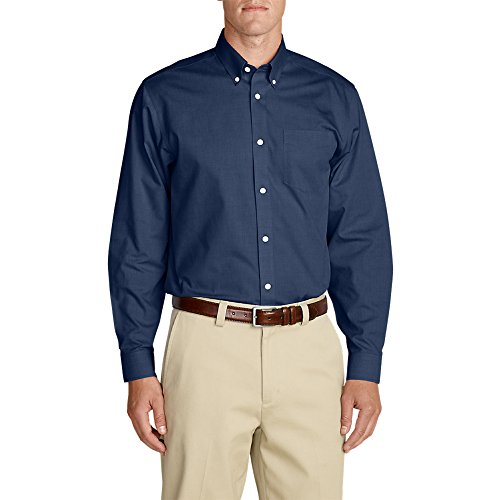 Eddie Bauer Men's Wrinkle-Free Relaxed Fit Pinpoint Oxford Shirt - Solid Long-Sl (Shirt Dress Fit Pinpoint)