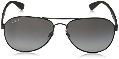 Ray-Ban Mens Metal Man Polarized Aviator Sunglasses, Black, 61 mm