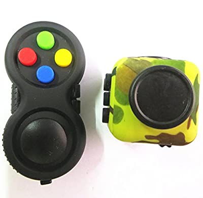 Fidget Pad and Fidget Cube Green Camo Stress Relief EDC Toy ADD, ADHD, Anxiety for Kids and Adults Killing Time(Colorful + Green Camo)(2 Pack)