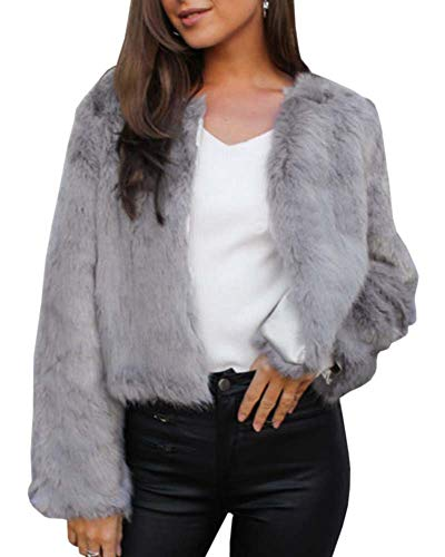 Jeanewpole1 Womens Fluffy Jacket Coat Faux Fur Shaggy Parka Long Sleeve Open Front Cardigans Gray