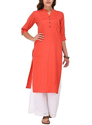 Ladyline Women's Pure Cotton Plain Tunic Top 3/4 Sleeves Roll-up Button Neck with Pocket Long Kurti ()