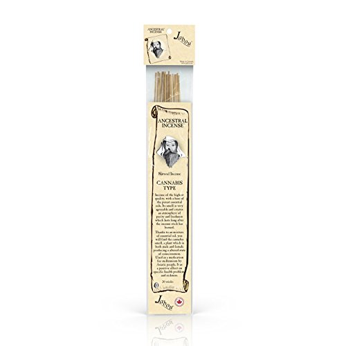 Jabou Ancestral 100% Natural Hand Dipped Incense Sticks - Cannabis Aroma - for Meditation, Yoga, Relaxation, Magic, Healing, Prayer & Rituals - 11 inch - 60 Minutes - 20-Pack ()