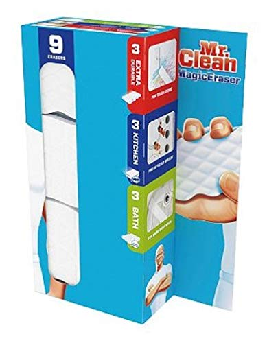 Mr. Clean Magic Eraser Extra Durable, Cleaning Pads with Durafoam, 8 Count Box (Packaging May Vary) (9 Variety Pack & Tub Cleaner)