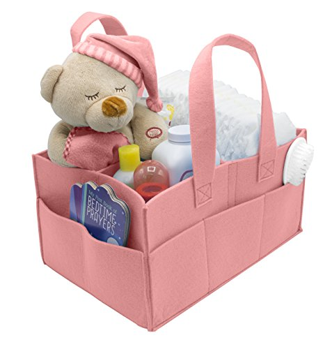 Sorbus Baby Diaper Caddy Organizer | Nursery Storage Bin for Diapers, Wipes & Toys | Portable Car Storage Basket | Changing Table Organizer | Great Baby Shower Gift Basket (Pink) (Baby Bassinet Basket)