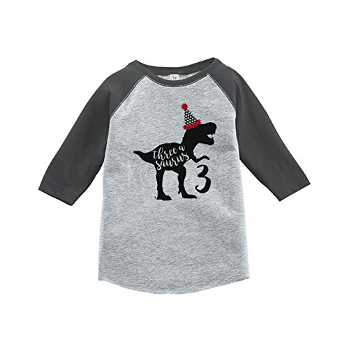 The Birthday Party T-shirt - 7 ate 9 Apparel Three Third Birthday Dinosaur Grey Baseball Tee 3T
