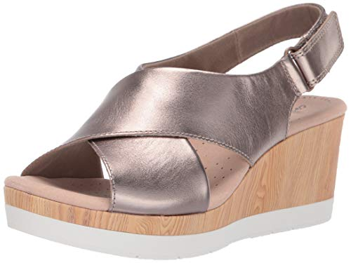 Clarks Women's Cammy Pearl Wedge Sandal, Pewter Leather, 095 W US