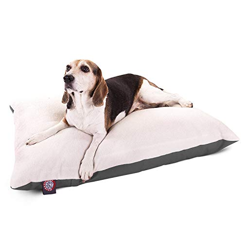 Majestic Pet 30 x 40 Gray Rectangle Pillow Pet Dog Bed with Sherpa, Medium (40 in. x 30 in.)