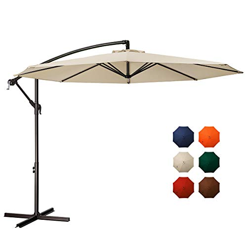 MEWAY 10 ft Outdoor Umbrella Backyard Umbrella Deck Umbrella Cantilever Patio Umbrella with Crank  Cross Base, Easy to Install (Light Beige) best to buy