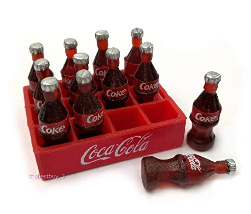 The Best Buy Dollhouse Miniature Food Drink 12 Cola Coke Good Standing Bottles with Tray 1:12 Scale