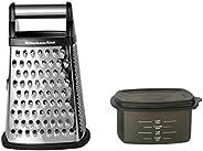 KitchenAid Ralador de caixa de aço inoxidável de 4 lados Gourmet com recipiente de armazenamento removível, pe