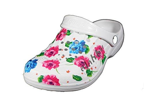 amara-global Damen Clogs Hausschuhe Pantoletten Gartenclogs Schuhe Badeschuhe Blumen 36-41 WEISS-BLAU-PINK
