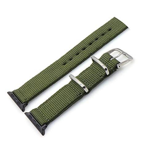 NATO Nylon Watchband for iWatch 4 3 2 1 for Watch Band 38mm 40mm Watch Strap 42mm 44mm Rainbow Wrist Bracelet,ArmyGreen,44mm ()