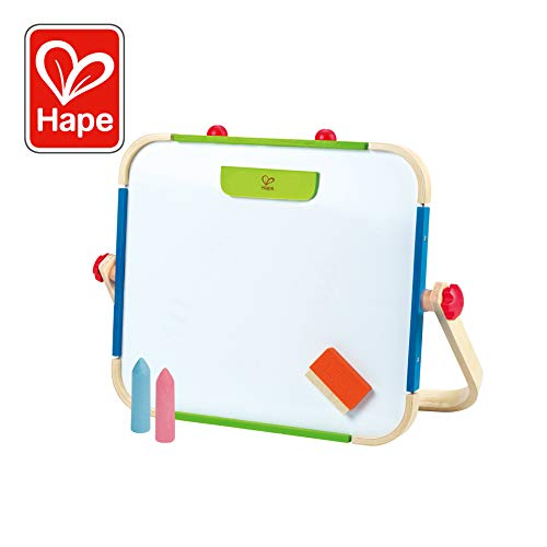 - Early Explorer Anywhere Table Top Art Studio by Hape | Award Winning Double-Sided Wooden Kids Easel Whiteboard/Chalkboard with 2 Chalk Pieces, Eraser and Magnetic Wood Clamp for Paper