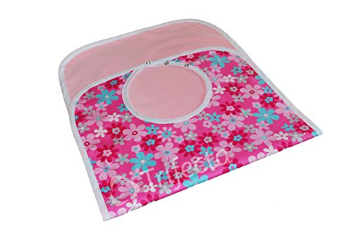 """UPC 717416670542, Large Extra Long, Washable Clothing Spill, Mealtime Protector, Waterproof Adult Sized Bib (18"""" x 36"""", Pink Flowers Printed F2)"""
