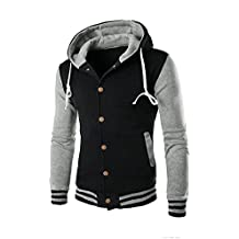 Realdo Mens Contrast Color Hoodie, Mens Warm Outwear Jacket Autumn Winter Slim Sweatshirt