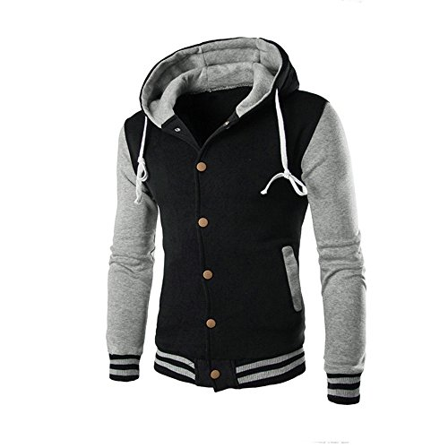 HARRYSTORE Slim Retro Outerwear Men Hoodie Hooded Sleeve Hooded Gray Sweatshirt Jacket Long Button rTrxfOnqU