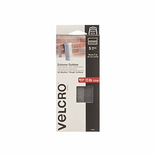 VELCRO Brand - Industrial Strength Extreme Outdoor | Heavy Duty, Superior Holding Power on Rough Surfaces | 5 Strips | 4in x 1in | Titanium