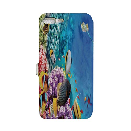 (Phone case Compatible with iPhone 7Plus/iPhone 8Plus 3D Printed PU Skin Cover Protection Sleeve,Tropical Fishes and Stingray Starfish Egyptian,iPhone case Premium PU Leather Magnetic Flip Folio Pr)
