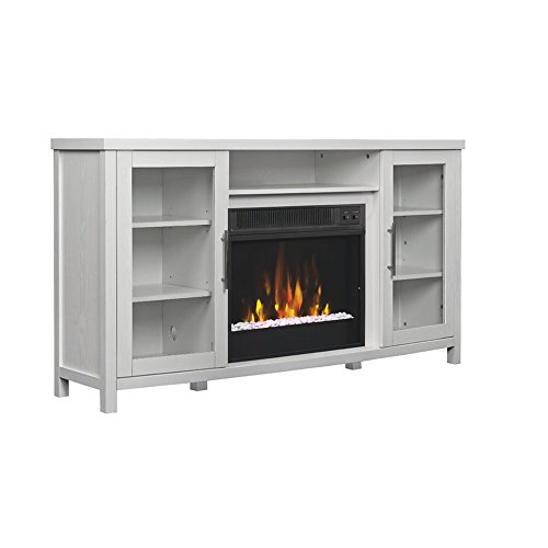 Stand Electric Vintage (Fireplace TV Stand - Contemporary Electric Heater And Media Storage Cabinet - Vintage Style - Assembly required (White Wood))