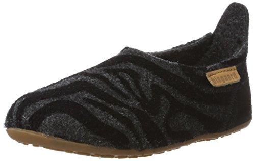 Bisgaard Unisex-Kinder Wool Basic Pantoffeln Mehrfarbig (172 Grey-Zebra)