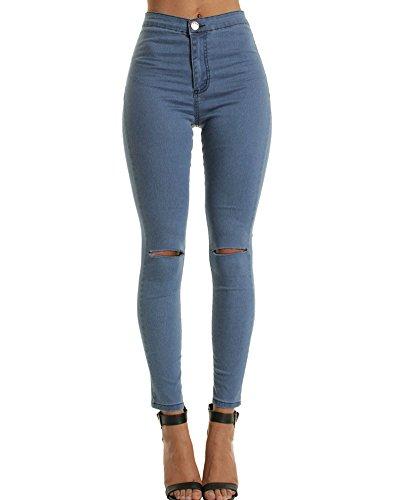 Pantalon Femme Genou dchir Marine lasticit Jeans Denim Slim Torn Pantalons Mince Port Brod xPqPSrw