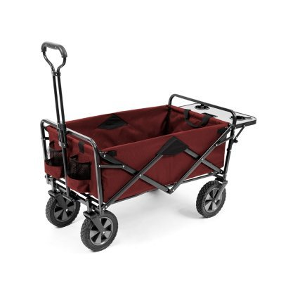 Folding Wagon with Table | Great for camping | 150 lb. Capacity (Red)