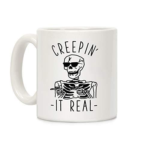 LookHUMAN Creepin039; It Real Skeleton White 11 Ounce Ceramic Coffee Mug