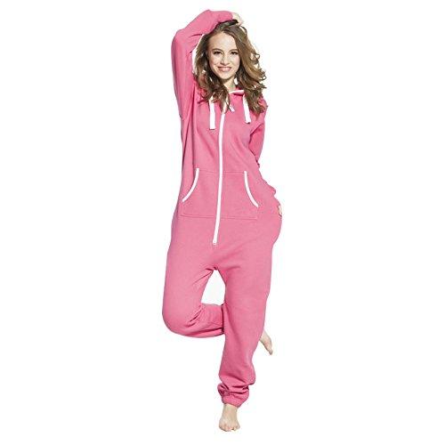 SkylineWears Women's Ladies Onesie Hoodie Jumpsuit Playsuit Small Pink