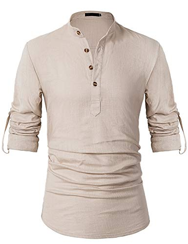 (Leisurely Pace Roll up Long Sleeve Linen Banded Collar Slim fit Henley Shirts for Men (30KH, 3XL) Khaki)