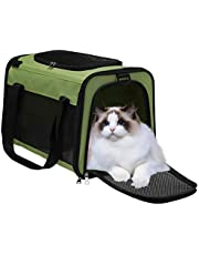 Pet Carrier Airline Approved, Travel Carrier Bag for Small Medium Cats Dogs Puppies, Soft Sided Collapsible Puppy Carrier with Locking Safety Zippers, Removable Fleece Pad and Pockets