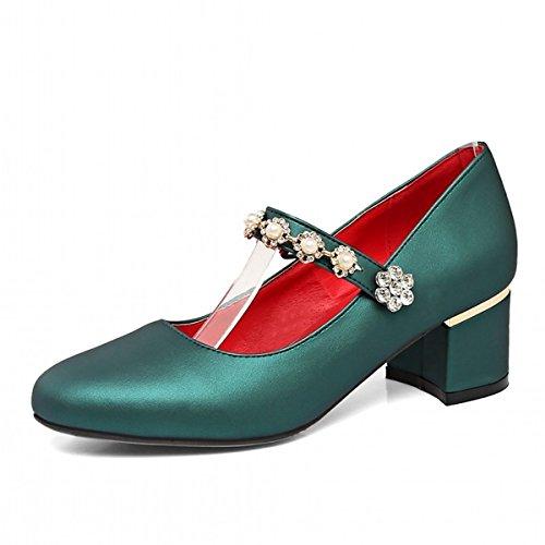 Perla Beige Scarpe Casual DIMAOL Chunky Imitazione Rosso Donna Tacchi Verde Abbigliamento in Novità Tonda Caduta Tallone Argento Verde di Primavera da per Comfort di Similpelle Punta TqSdrqRx