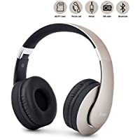 Bluetooth Headphones Over Ear, Upgraded Wireless Foldable Headset, Built-in 4 in 1 Stereo Hi-Fi Mic and Wired Mode for Cellphones Iphone Smartphones TV Laptop Computer and (Gold- On Ear Button)