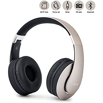 Bluetooth Headphones Over Ear, Upgraded Wireless Foldable Headset, Built-in 4 in 1 Stereo Hi-Fi Mic and Wired Mode for Cellphones iPhone (Gold)