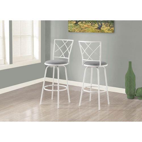 Hawthorne Ave Barstool - 2 Piece/Swivel/White/Grey Fabric Seat (Bar Ave)