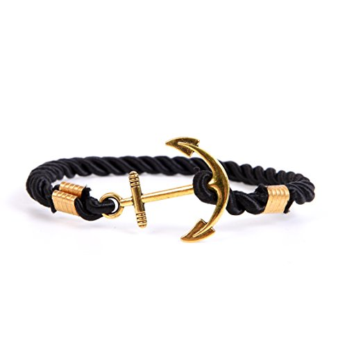 RIVERTREE Mens Gold Anchor Charm Bracelet Braided Weave Nylon Rope Wristband - - Bracelet Gold James