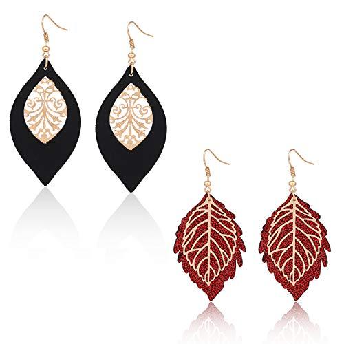 LIAO Jewelry Leather Leaf Drop Earrings Sparky Filigree Openwork Leaves Dangle Earrings 2 Pairs Teardrop Earrings(Red and Black B)