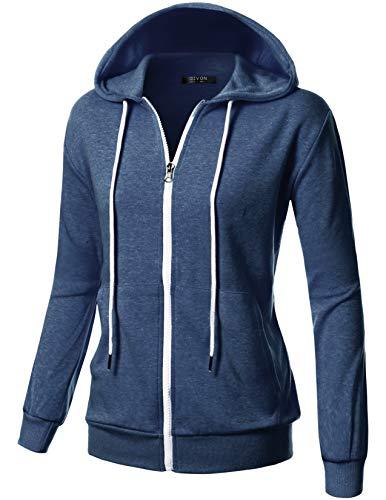 (GIVON Womens Comfortable Long Sleeve Lightweight Zip-up Hoodie with Kanga Pocket/DCF200-NAVYMELANGE-XS)