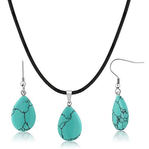 Beautiful Turquoise Pendant - Gem Stone King Beautiful Flat Drop Shape Simulated Turquoise Pendant Set With Matching Simulated Turquoise Earrings