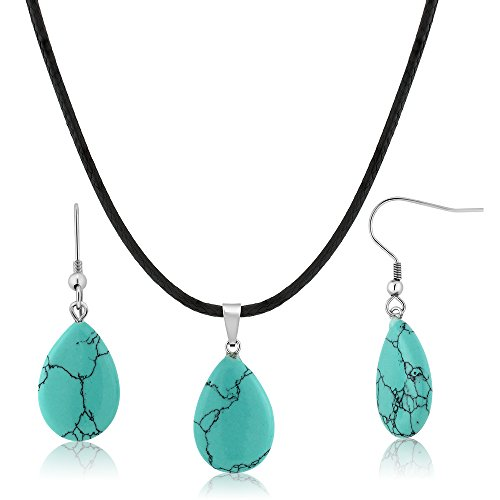 Gem Stone King Beautiful Flat Drop Shape Simulated Turquoise Pendant Set With Matching Simulated Turquoise (Beautiful Drop Pendant)