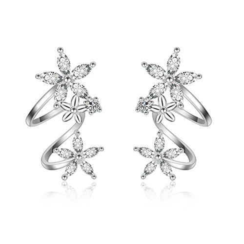 (Orris Sterling Silver Flower Fairy Sparkles Style Ear Cuff Wrap Clip Stud Set Earring (For Pierced Ear))