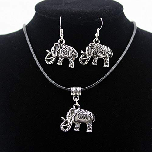Tibet Silver Chinese Style Elephant Pendant Necklaces Earrings Hook Jewelry Set