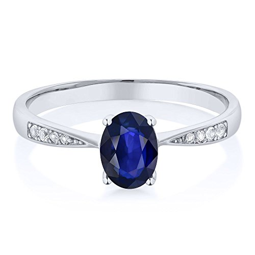 10K White Gold Blue Sapphire and Diamond Women's Ring (0.63 Ct Oval Available in size 5,6,7,8,9)