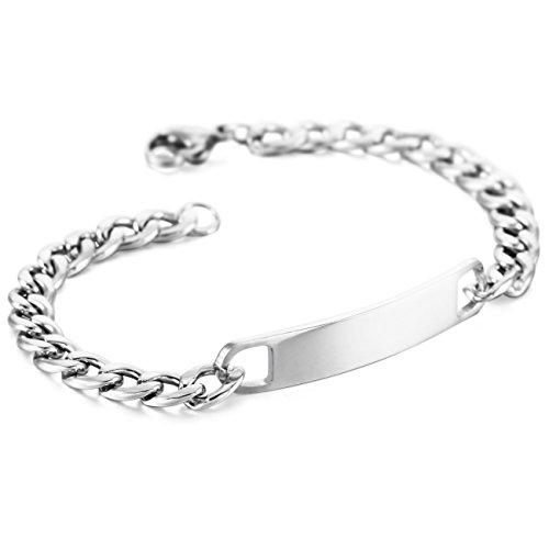 MeMeDIY Noir Or Ton Acier Inoxydable Bracelet Lien Gravure personnalis/ée