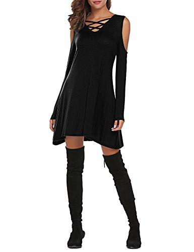 Swing Black Sexy Shoulder Long Sleeve Women's Neck Cold Tunic Sherosa Cross Dress P8ATf
