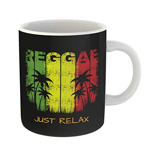 Emvency Coffee Tea Mug Gift 11 Ounces Funny Ceramic Colorful Jamaica of Reggae Music Slogan Just Relax Graphics Green Rasta Gifts For Family Friends Coworkers Boss Mug for $<!--$14.90-->