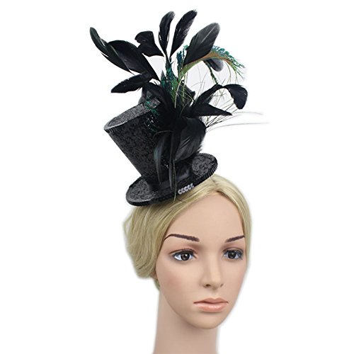 Circus Top Hats (YSJOY Kentucky Derby Races Mini Top Hat Feather Fascinator Tea Party Cosplay Victorian Decorative Top Hat Hair Clip for Women Lady Costume Accessory Black)