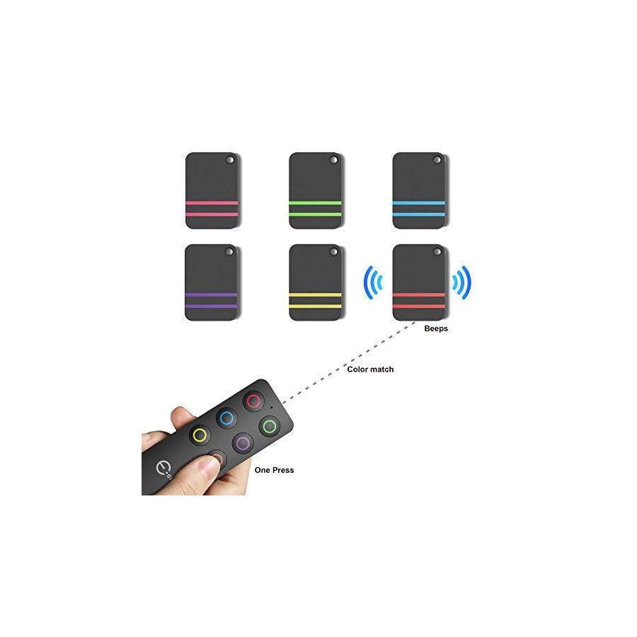 Esky Key Finder, Wireless RF Item Locator Item Tracker Support Remote Control,1 RF Transmitter and 6 Receivers Wireless Key RF Locator, Pet Tracker Wallet Tracker