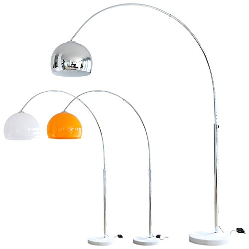 SalesFever Steh-Lampe Chrom mit Dimmer und Fuß aus Marmor 213x165 cm | Big Mess | Steh-Leuchte höhenverstellbar mit verchromten Metall | Bogen-Lampe für Wohnzimmer 213cm x 165cm