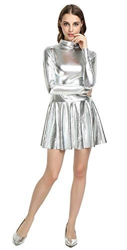 (WOLF UNITARD Women's Shiny Wet Look Mini Dress Cosplay Costume Medium)