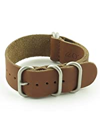 StrapsCo 20mm Brown Leather G10 Nato Zulu Watch Strap with Matte Stainless Steel Rings